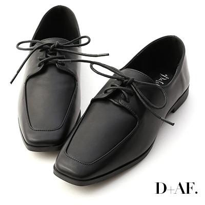 D+AF 美好搭配.綁帶方頭平底牛津鞋*黑