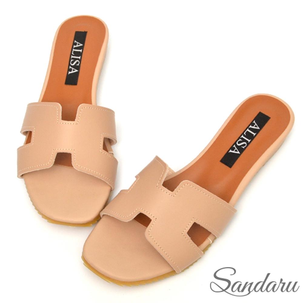 山打努SANDARU-拖鞋 MIT簡約H字平底鞋-米 (米)