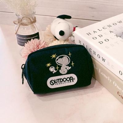 【OUTDOOR】SNOOPY聯名款Lady系列單層零錢包-黑色 ODP20C07BK