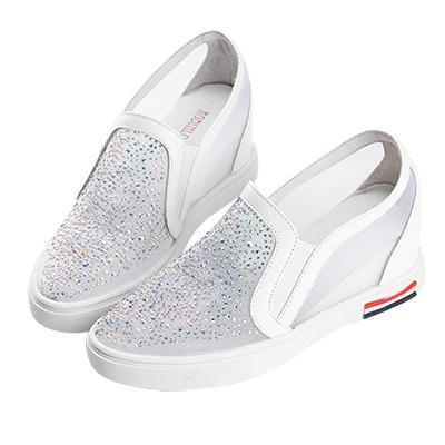 Robinlo & Co.性感透視水鑽真皮內增高休閒鞋 白色