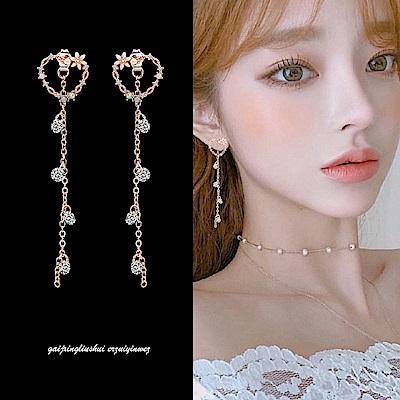 梨花HaNA 耳夾/耳針選韓國925銀針愛心花卉點飾長耳環