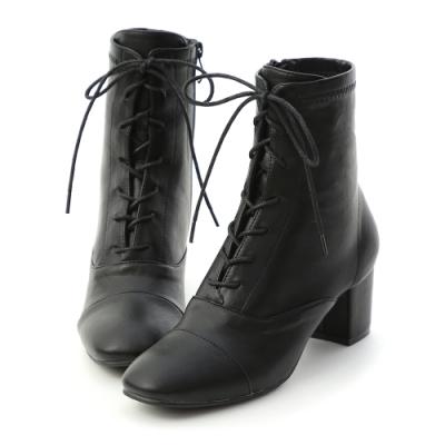 D+AF 優雅宣言.綁帶設計方頭中跟短靴*黑