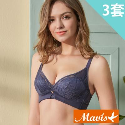 Mavis瑪薇絲-清新森葉集中無鋼圈內衣褲(3套)