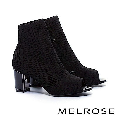 短靴 MELROSE 時尚潮流彈力織布魚口粗高跟襪靴-黑
