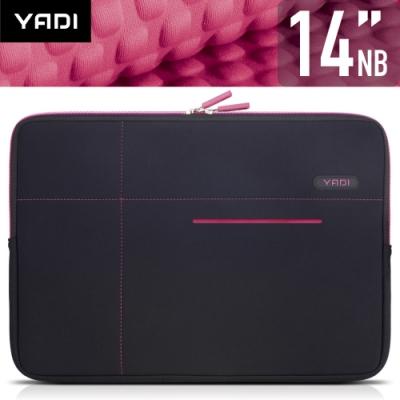 YADI 14吋NB筆記型電腦專用內袋_抗衝擊_防震機能_粉蝶紅