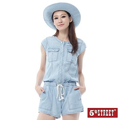5th STREET 休閒無領牛仔連身短褲-女-漂淺藍