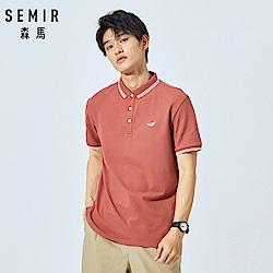 SEMIR森馬-簡約印花撞色條紋POLO衫-男(2色)
