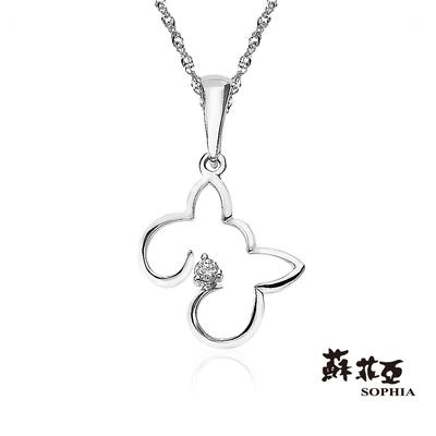 SOPHIA 蘇菲亞珠寶 - 可愛貓型 18K白K金 鑽石項墜
