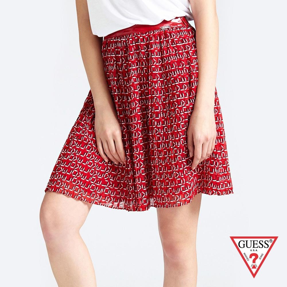 GUESS-女裝-復古印花圖騰雪紡短裙-紅