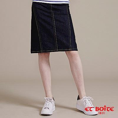 ETBOITE 箱子 BLUE WAY  簡約斜切拼接長裙