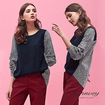OUWEY歐薇 針織配色拼接格紋上衣(藍)
