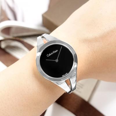 CK 優雅時尚 鏤空設計 手環式 不鏽鋼手錶-黑色/31mm