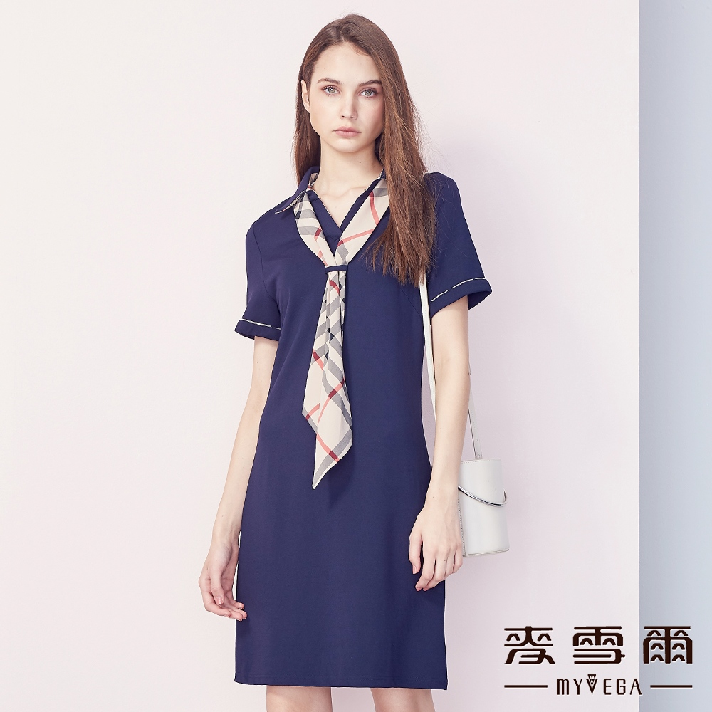 【麥雪爾】格紋拼接可拆式領巾連身短洋裝