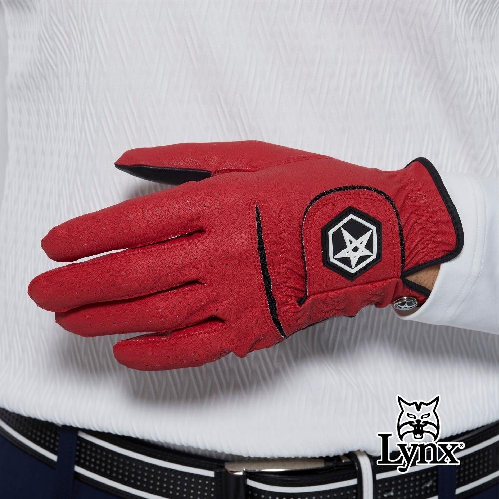 【Lynx Golf】Asher Chuck 多色系列男款防滑彈性高爾夫左手手套-紅色