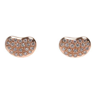 TIFFANY&Co 經典Bean Design系列18K玫瑰金鑽石鑲飾相思豆造型耳環