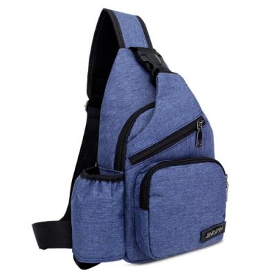 I.Dear-戶外男女新款大容量多層收納USB充電孔胸前包(BG97藍色)