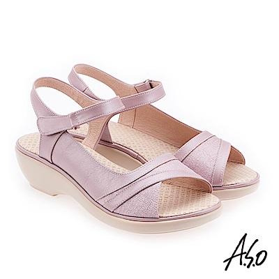 A.S.O 挺麗氣墊 布紋拼接全真皮抗菌奈米鞋墊氣墊涼鞋 淺紫