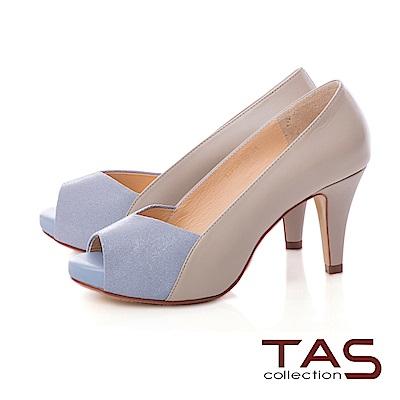 TAS 質感羊皮拼接魚口高跟鞋-氣質灰