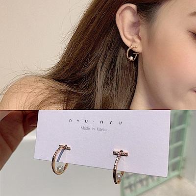 梨花HaNA 韓國風中約定鑽圈珍珠耳環