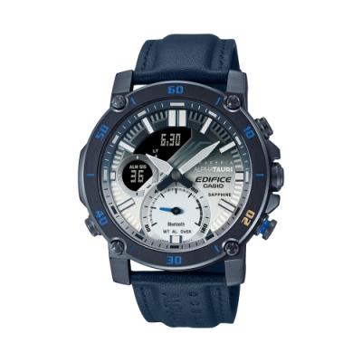CASIO卡西歐 EDIFICE 藍牙 高性能計時碼錶 藍白漸層  Scuderia AlphaTauri賽車聯名錶款 ECB-20AT-2A_46mm