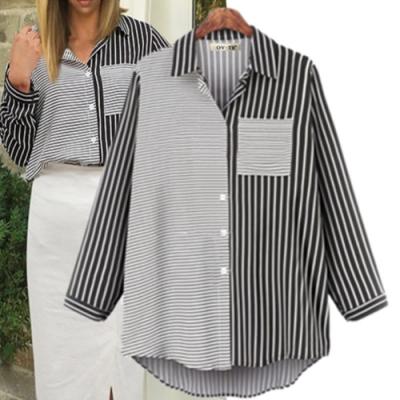 MOCO顯瘦個性不對稱條紋襯衫單口袋拼接直條橫條開釦襯衫L~4XL