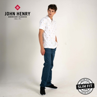 【JOHN HENRY】Hi Cool熱帶趣味水果印花短袖POLO-白