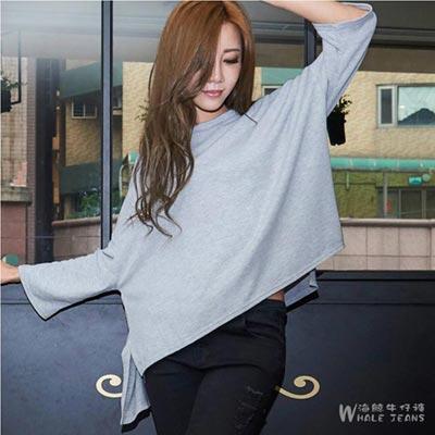 WHALE JEANS 台灣製素色圓領前短後長長袖棉T-2色