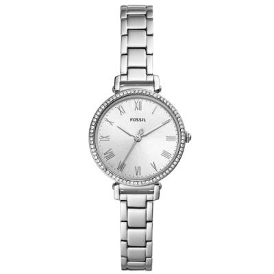 FOSSIL 香榭之冠晶鑽珠圈手錶(ES4448)-銀/28mm