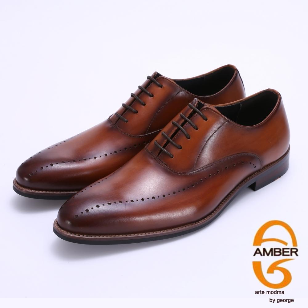 Amber 手工雕花漸層綁帶紳士鞋-棕色