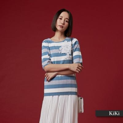 【KiKi】條紋蕾絲花短袖-針織衫(三色)