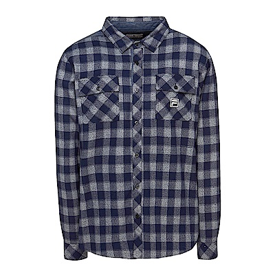 FILA 男款格紋襯衫-丈青 1WSS-5703-NV