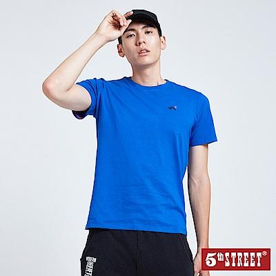 5th STREET 基本繡花短袖T恤-男-寶藍色