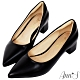 Ann'S加上優雅低跟版-復古皮革沙發後跟低跟尖頭鞋-黑 product thumbnail 1