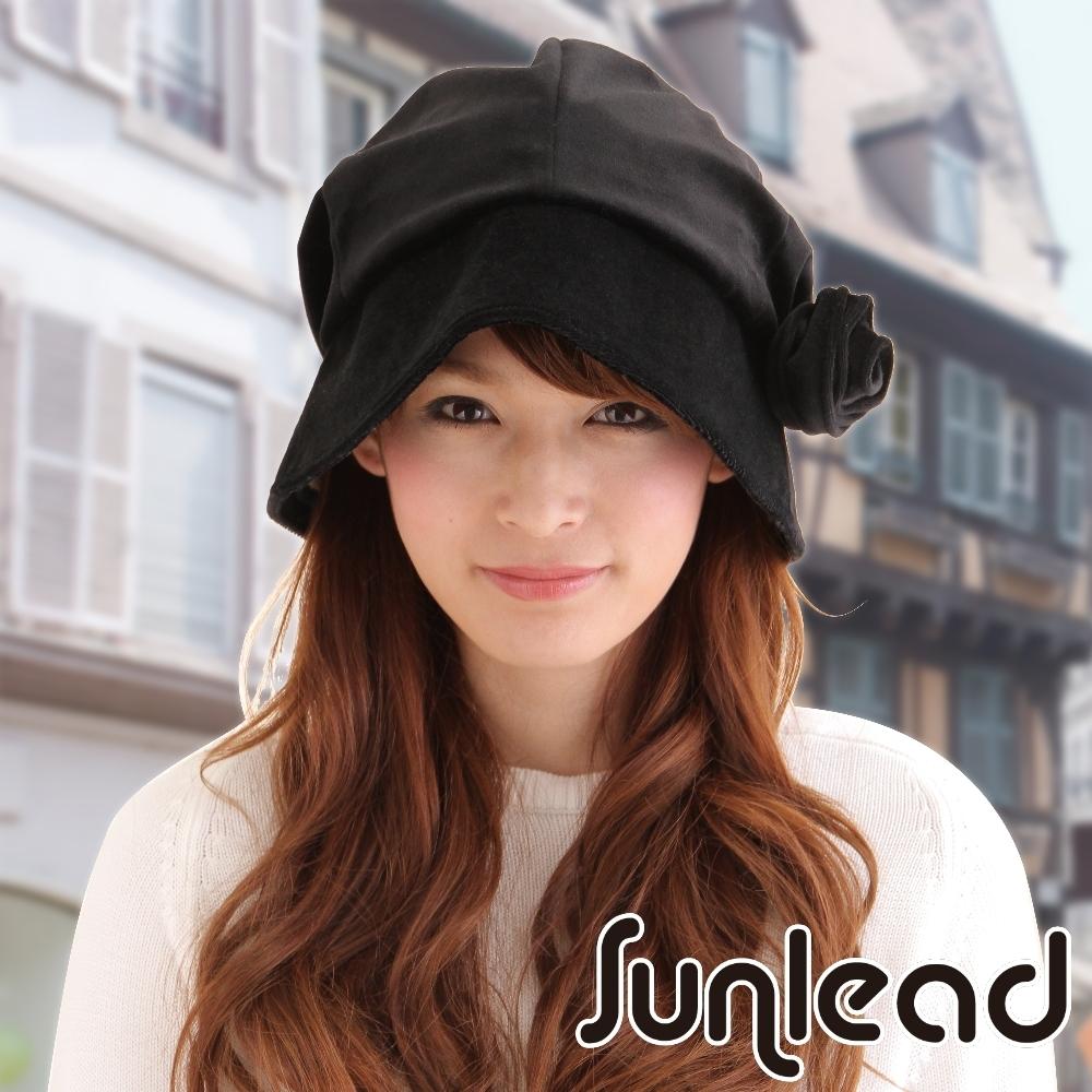 Sunlead 防寒暖暖護頸護耳。小顏效果吸濕發熱護髮美型圓頂軟帽 (黑色)