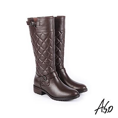 A.S.O 經典格紋 中性風真皮時髦長靴 咖啡