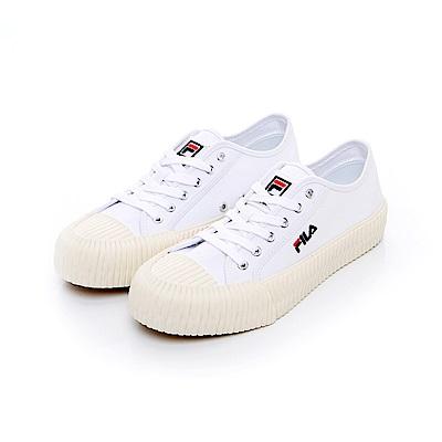 FILA 中性經典餅乾帆布鞋-白 4-C320T-110