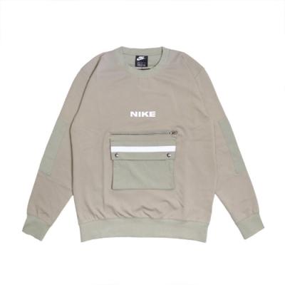 Nike T恤 City Made Fleece Crew 男 NSW 大口袋 工裝 拉鍊 穿搭 灰綠 白 DA0070320