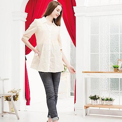 【ohoh-mini孕哺裝】 條紋襯衫領五分袖孕哺上衣