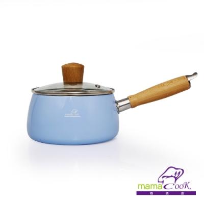 義大利Mama Cook日式木柄縮口陶瓷不沾牛奶鍋組-藍色(14cm附蓋)