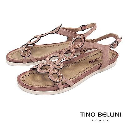 Tino Bellini 圖騰鏤空閃耀細鑽平底涼鞋 _ 粉