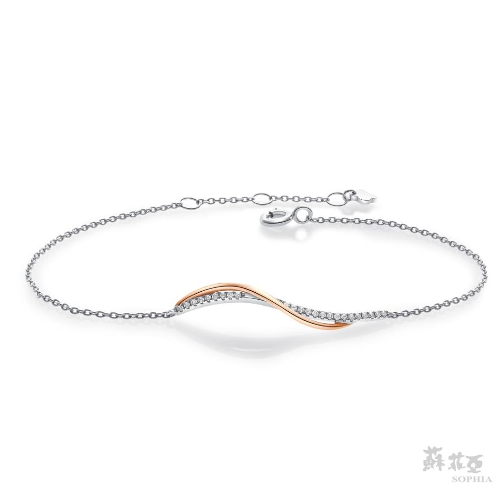 SOPHIA 蘇菲亞珠寶 - 艾菲絲 18K雙色(玫瑰金+白金) 鑽石手鍊