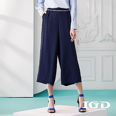 IGD英格麗 雪紡撞色飾邊九分寬褲-深藍