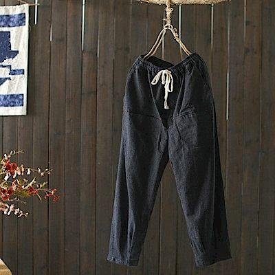 寬鬆棉麻格子休閒束腳九分褲-K1802-設計所在