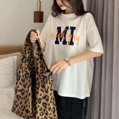 2F韓衣-簡約印花舒適精舒棉造型上衣-3色(M-XL)