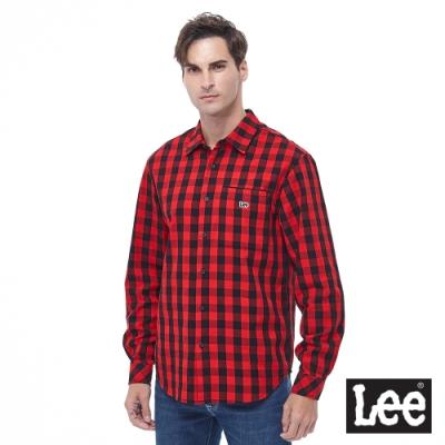 Lee 長袖休閒襯衫格紋Lee刺繡 紅+黑格紋 男