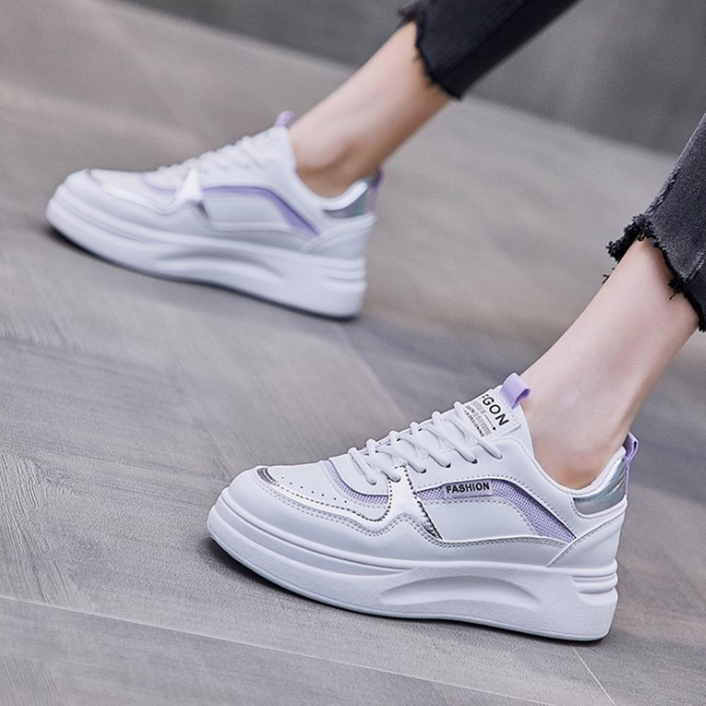 LN  現+預 韓版百搭厚底鬆糕小白鞋(厚底鞋/休閒鞋) (紫色)