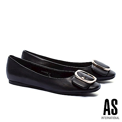 平底鞋 AS 金屬皮帶釦飾全真皮方頭平底鞋-黑