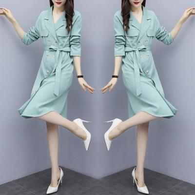 韓版雙排釦繫帶連衣裙風衣外套L-4XL(共三色)-KVOLL