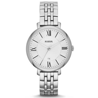 FOSSIL簡約質感羅馬銀色腕錶ES3433