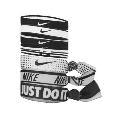 Nike 髮圈 Mixed Ponytail Holder 矽膠防滑 九入一組 印花 穿搭 運動休閒 黑 白 NJNK8913OS
